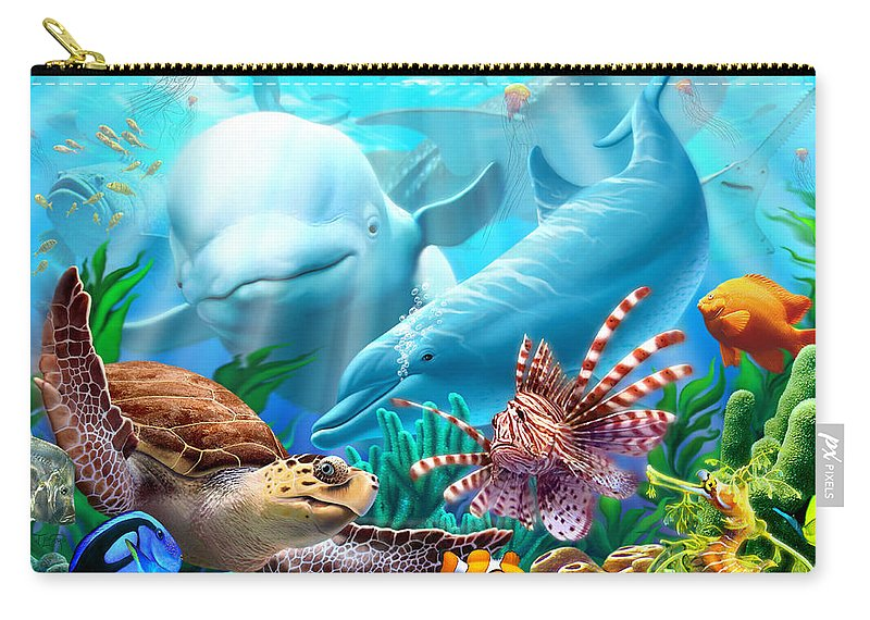 Beluga Whale Carry-all Pouch featuring the digital art Seavilians 1 by Jerry LoFaro