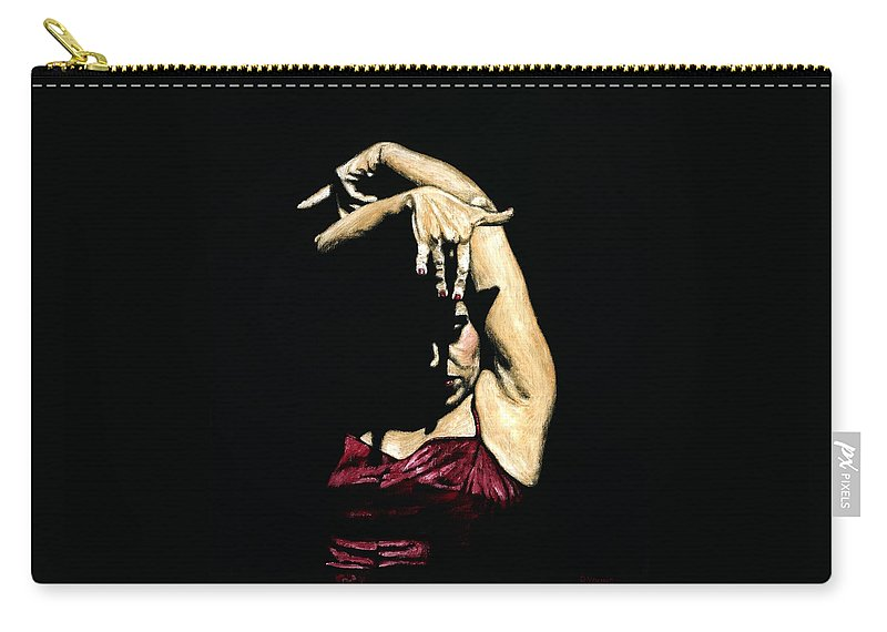 Flamenco Carry-all Pouch featuring the painting Seclusion del Flamenco by Richard Young