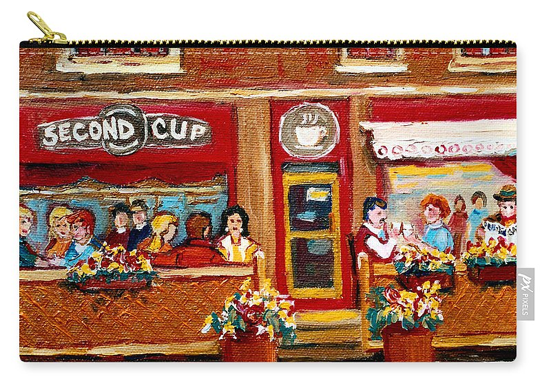 Second Cup Coffee Shop Carry-all Pouch featuring the painting Second Cup Coffee Shop by Carole Spandau