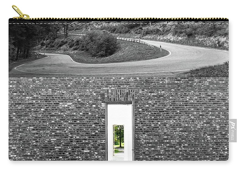 Brick Carry-all Pouch featuring the photograph Secret Door 05 by Zena Zero