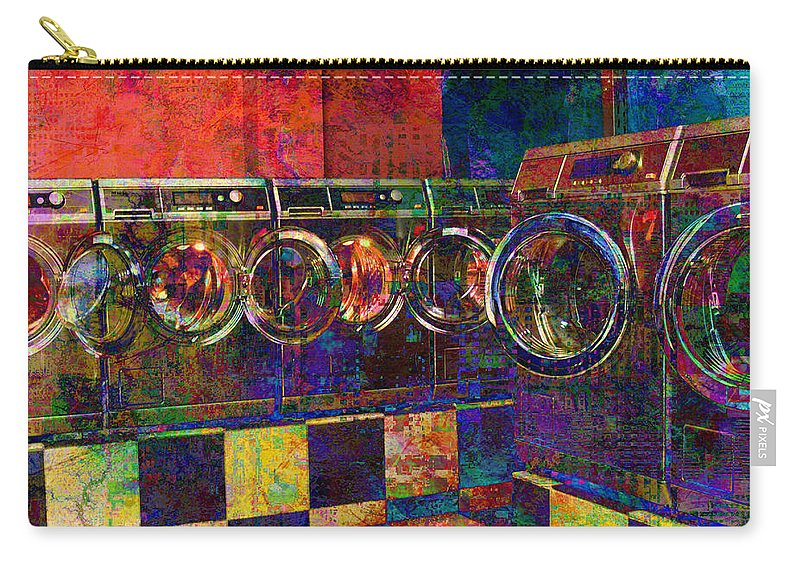 Laundry Carry-all Pouch featuring the digital art Secret Life Of Laundromats by Barbara Berney