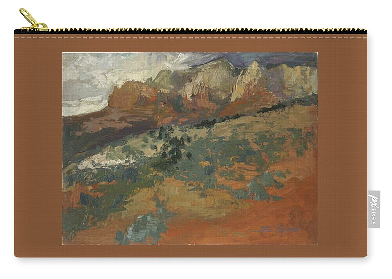 Sedona Landscape Carry-all Pouch featuring the painting Sedona Az Break In The Storm by Betty Jean Billups
