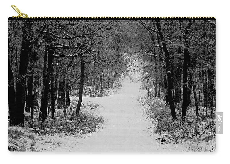 Snow Carry-all Pouch featuring the photograph See where it leads. by Jean Macaluso