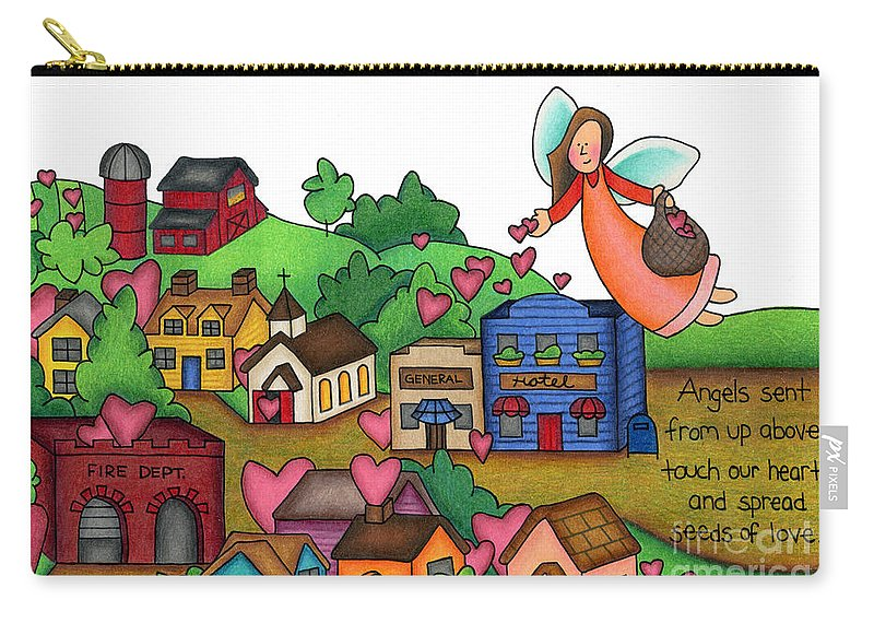 Angels Carry-all Pouch featuring the drawing Seeds Of Love by Sarah Batalka