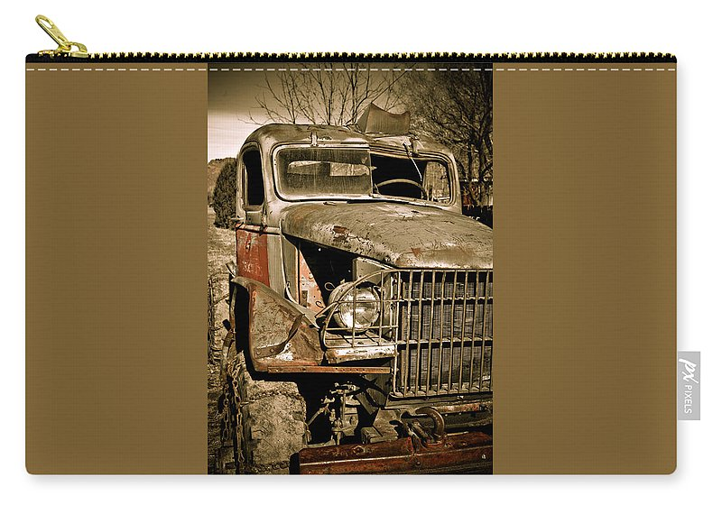Old Vintage Antique Truck Worn Western Carry-all Pouch featuring the photograph Seen Better Days by Marilyn Hunt