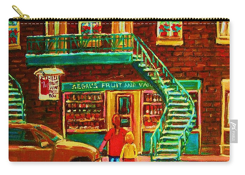Staircases Carry-all Pouch featuring the painting Segal's Fruit And Variety Store by Carole Spandau