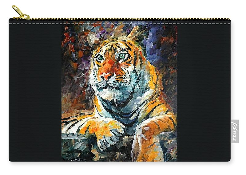 Painting Carry-all Pouch featuring the painting Seibirian Tiger by Leonid Afremov