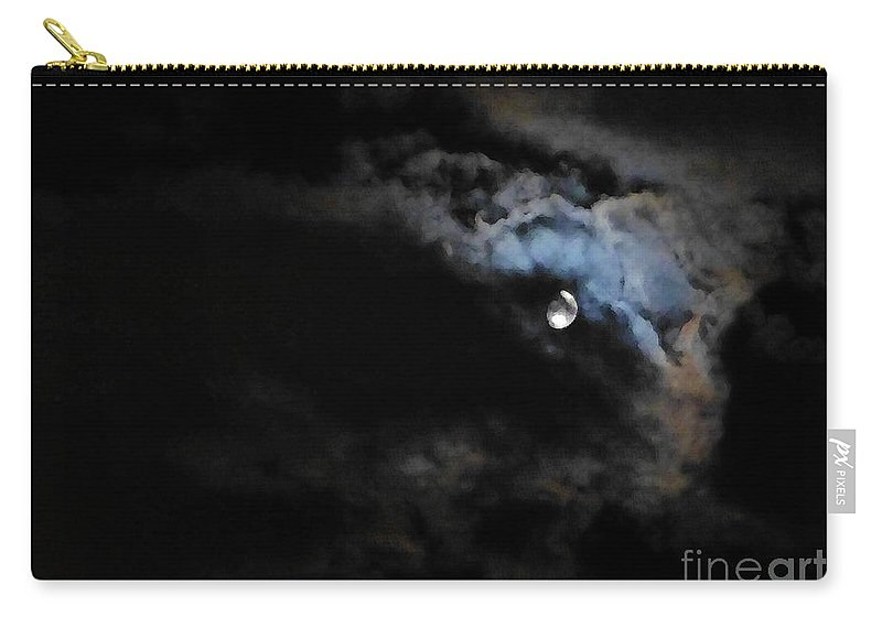 Moon Carry-all Pouch featuring the photograph Selene Peaking From The Clouds by As the Dinosaur Flies Photography