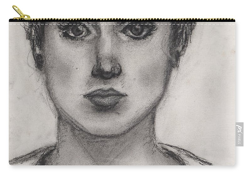 Nadine Carry-all Pouch featuring the drawing Self Portrait At Age 18 by Nadine Rippelmeyer