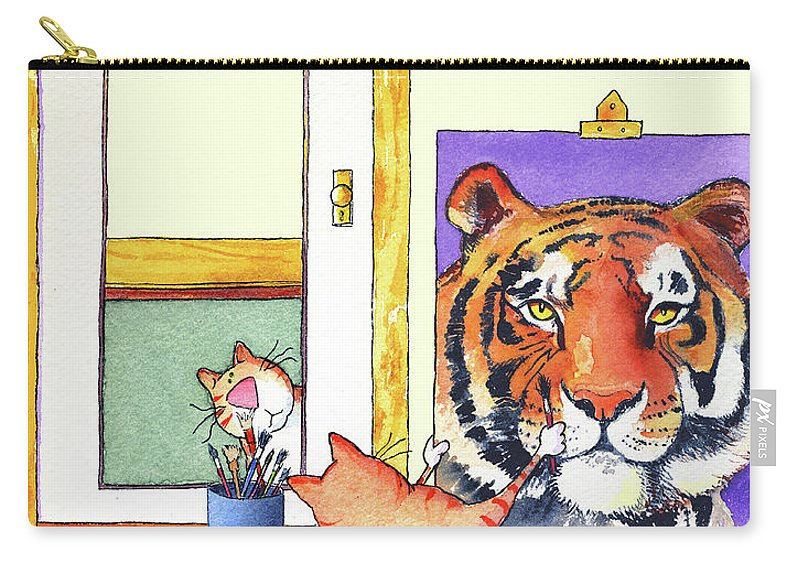 Tiger Carry-all Pouch featuring the painting Self Portrait, Tiger by Jim Tweedy