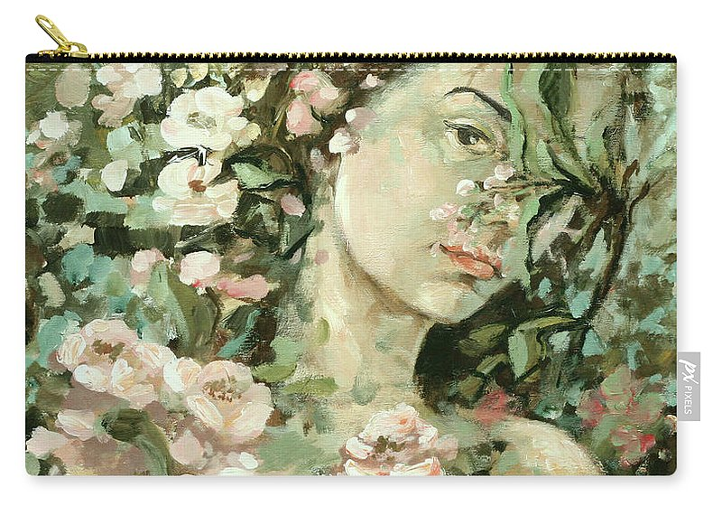 Portrait Carry-all Pouch featuring the painting Self Portrait With Aplle Flowers by Vali Irina Ciobanu