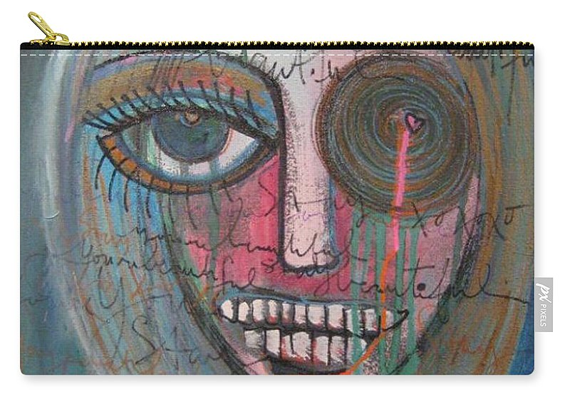Self Portraits Carry-all Pouch featuring the painting Self Portrait Youre Beautiful by Laurie Maves ART