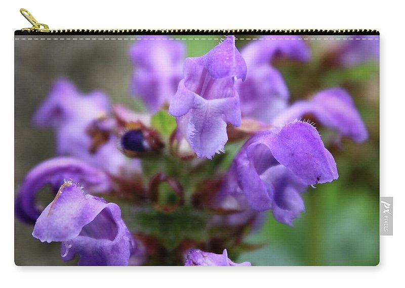 Photograph Carry-all Pouch featuring the photograph Selfheal Up Close by Mandy Elliott