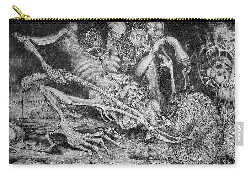 Surrealism Carry-all Pouch featuring the drawing Selfpropelled Beastie Seeder by Otto Rapp