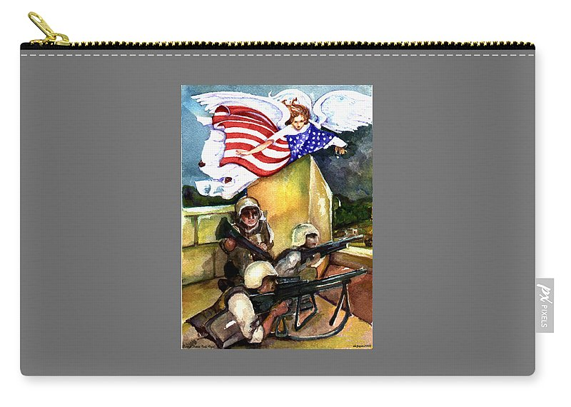 Elle Fagan Carry-all Pouch featuring the painting Semper Fideles - Iraq by Elle Smith Fagan