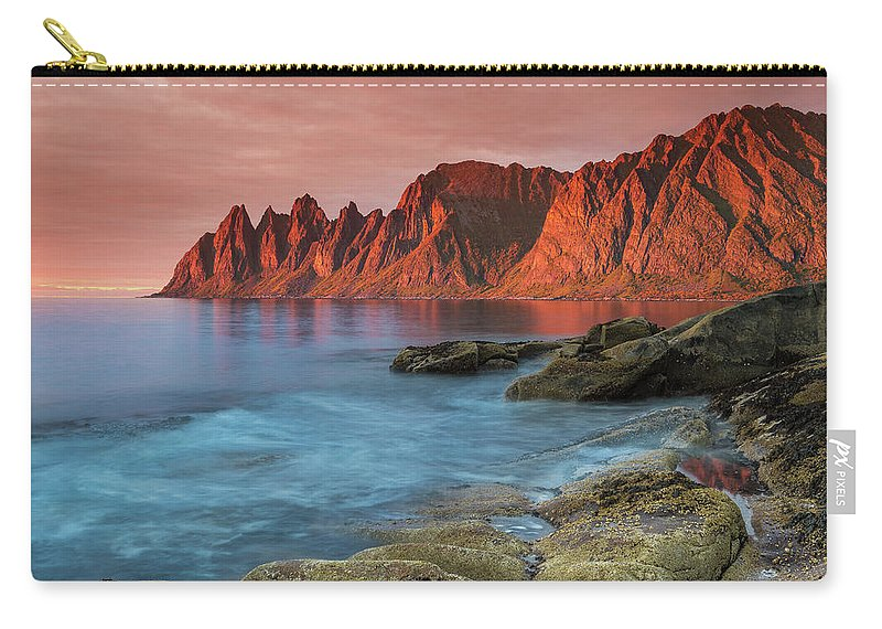Senja Carry-all Pouch featuring the photograph Senja Red by Alex Conu