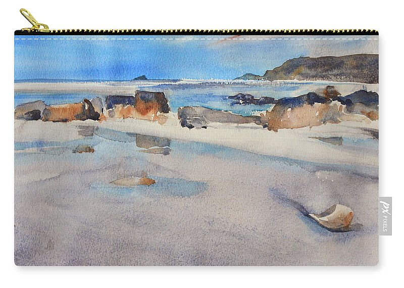 Sennen Cove Carry-all Pouch featuring the painting Sennen Cove Low Tide by Ibolya Taligas