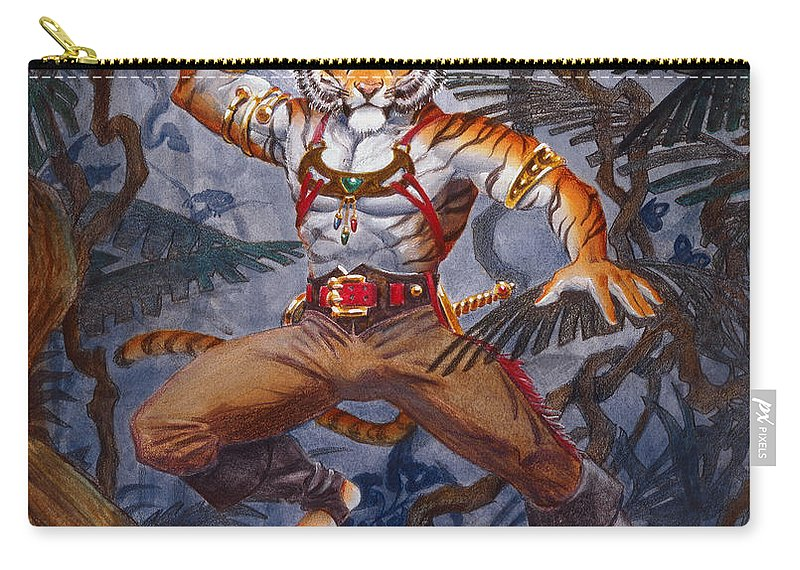 Cat Carry-all Pouch featuring the painting Sense Dark by Melissa A Benson