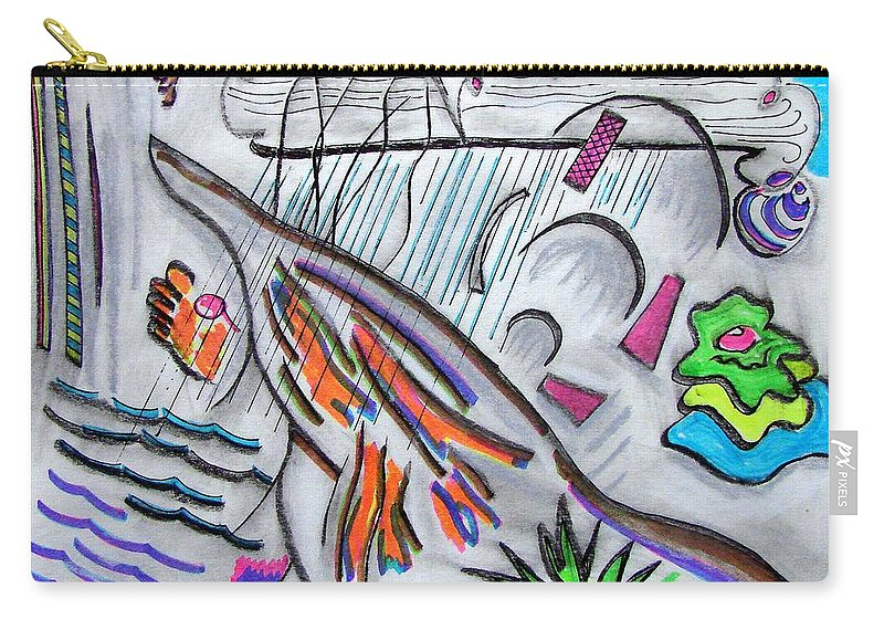 Abstract Drawing Carry-all Pouch featuring the drawing Sensing The Precipice by J R Seymour