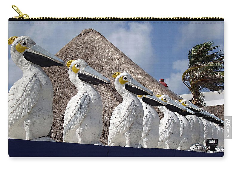 Sentry Pelicans Carry-all Pouch featuring the photograph Sentry Pelicans by Ellen Henneke