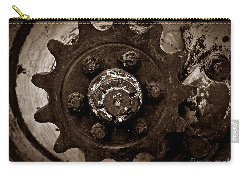 Sepia Gear Carry-all Pouch featuring the photograph Sepia Gear by Chalet Roome-Rigdon