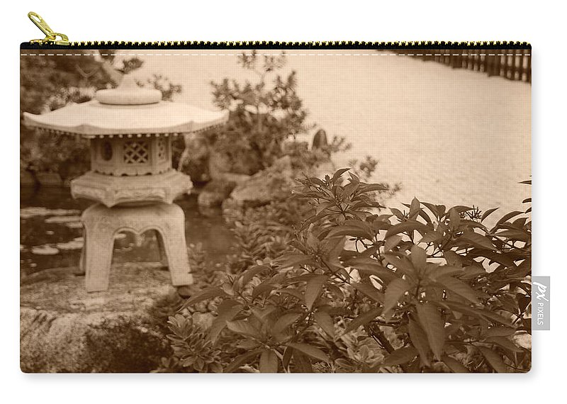Sepia Carry-all Pouch featuring the photograph Sepia Japanese Garden by Rob Hans
