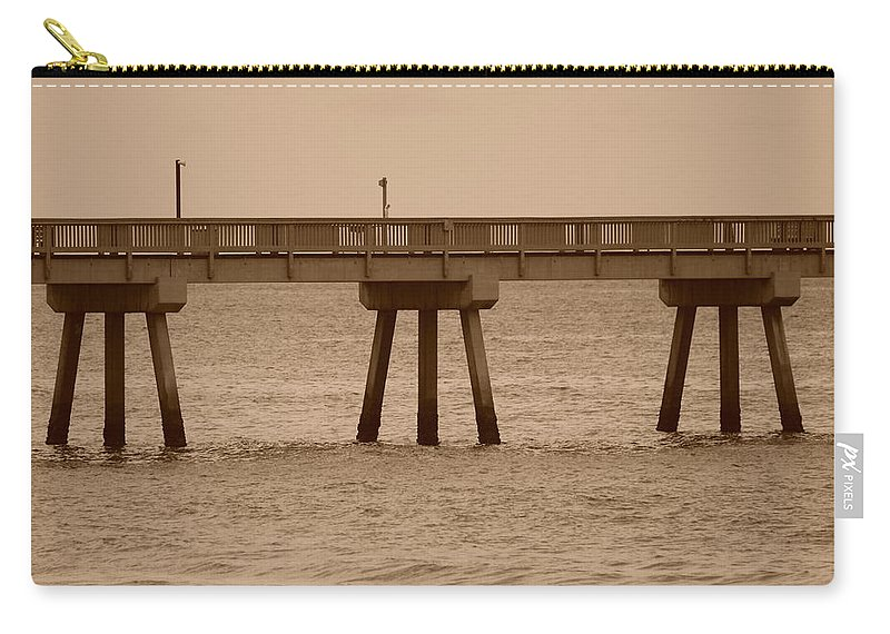 Sepia Carry-all Pouch featuring the photograph Sepia Pier by Rob Hans