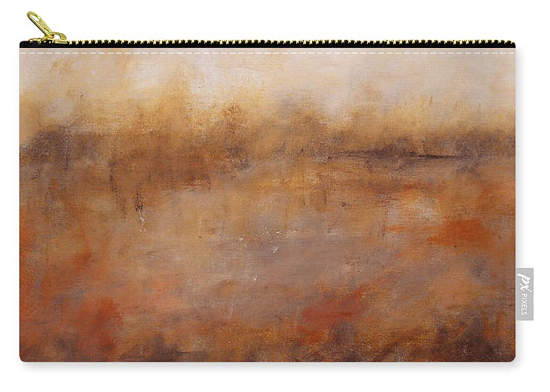 Abstract Carry-all Pouch featuring the painting Sepia Wetlands by Ruth Palmer