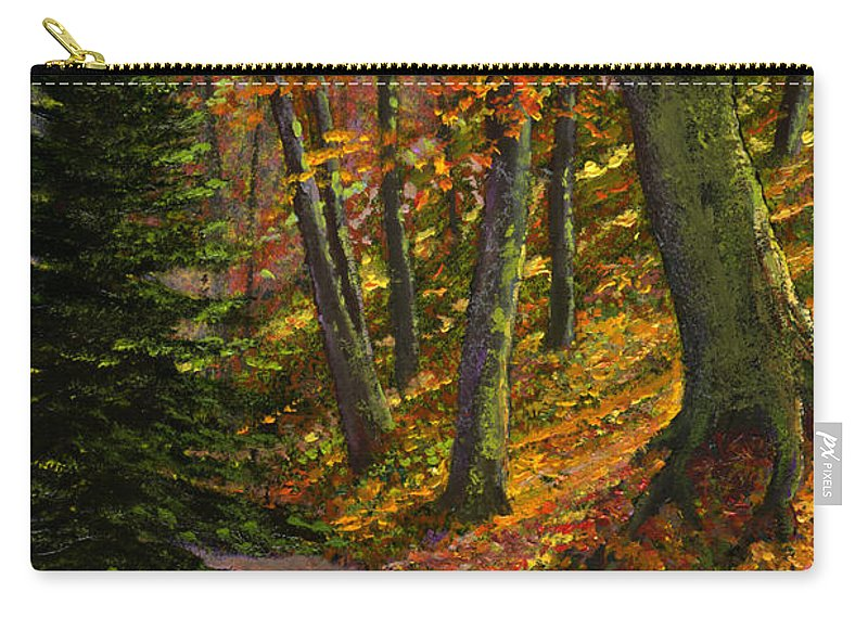 Road In The Woods Carry-all Pouch featuring the painting September Road by Frank Wilson