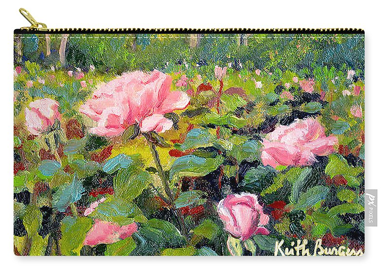 Impressionism Carry-all Pouch featuring the painting September Roses by Keith Burgess