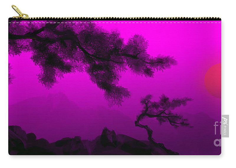 Japanese; Sunset; Mountains; Trees; Rising; Sun; Contemporary; Purple; Pink;sunrise; Sunset Carry-all Pouch featuring the painting Serenity by James Christopher Hill