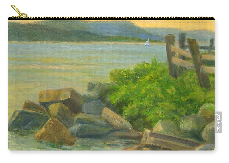 Landscape Carry-all Pouch featuring the painting Serenity on the Hudson by Phyllis Tarlow