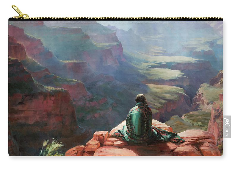 Southwest Carry-all Pouch featuring the painting Serenity by Steve Henderson