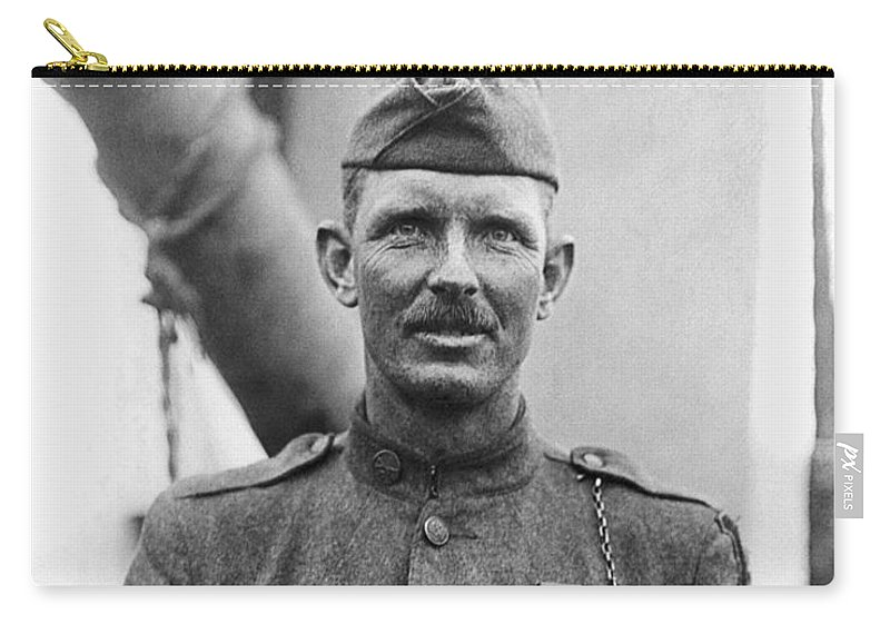 Alvin York Carry-all Pouch featuring the photograph Sergeant York - World War I Portrait by War Is Hell Store