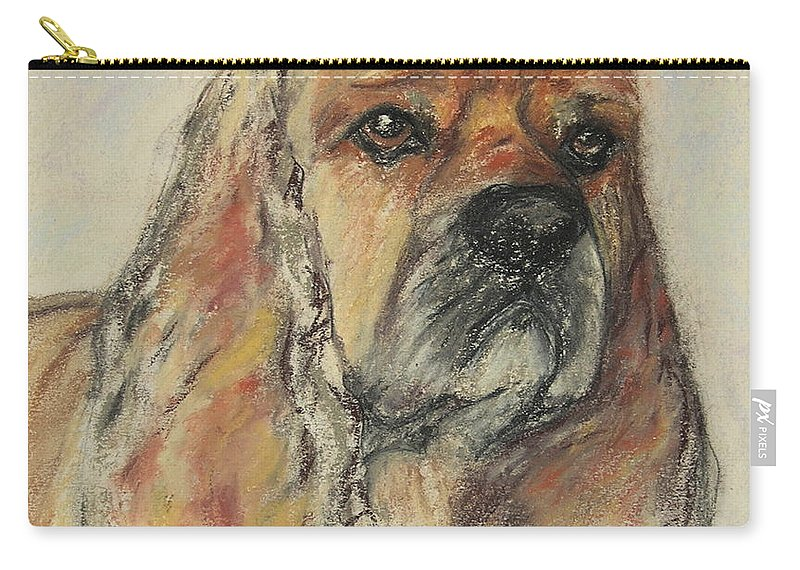 Dog Carry-all Pouch featuring the drawing Serious Intent by Cori Solomon