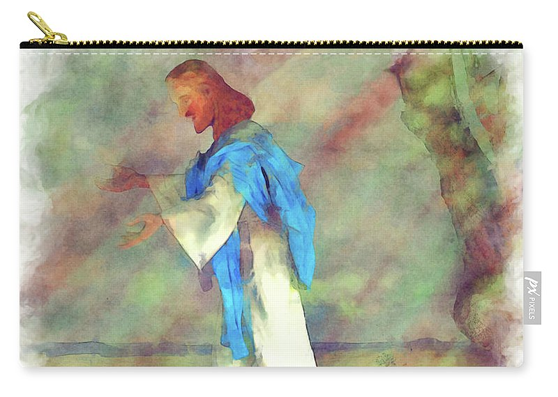 Sermon On The Mount Carry-all Pouch featuring the painting Sermon On The Mount by L Wright
