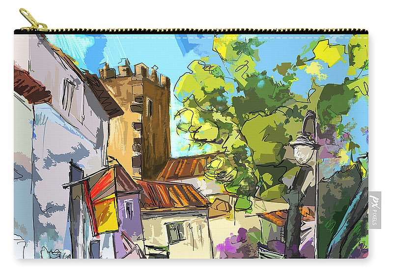 Painting Serpa Portugal Alentejo Travel Sketches Carry-all Pouch featuring the painting Serpa Portugal 01 Bis by Miki De Goodaboom
