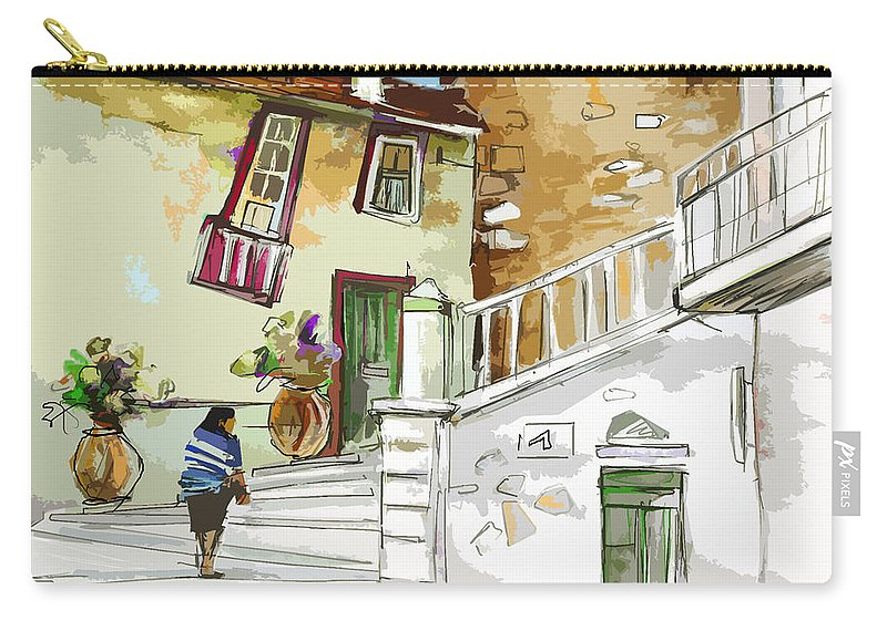 Painting Of Serpa Alentajo Portugal Travel Sketch Carry-all Pouch featuring the painting Serpa Portugal 03 Bis by Miki De Goodaboom