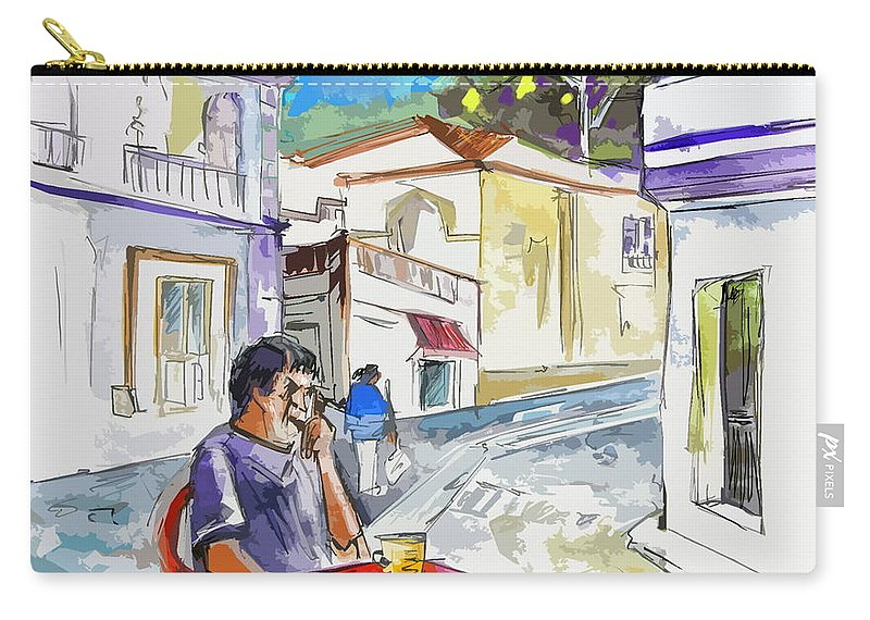 Portugal Paintings Carry-all Pouch featuring the painting Serpa Portugal 05 Bis by Miki De Goodaboom