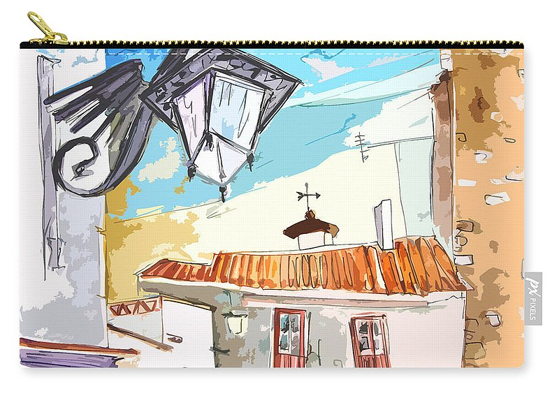 Painting Of Serpa Alentajo Portugal Travel Sketch Carry-all Pouch featuring the painting Serpa Portugal 09 Bis by Miki De Goodaboom
