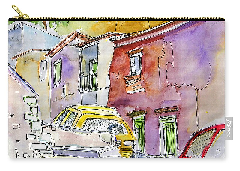 Portugal Paintings Carry-all Pouch featuring the painting Serpa Portugal 12 by Miki De Goodaboom