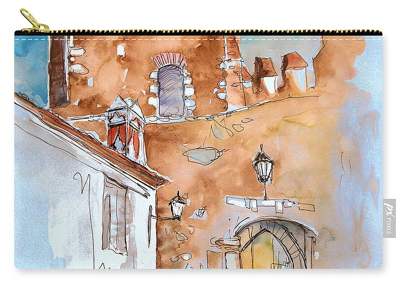 Water Colour Painting Serpa Portugal Carry-all Pouch featuring the painting Serpa Portugal 29 by Miki De Goodaboom