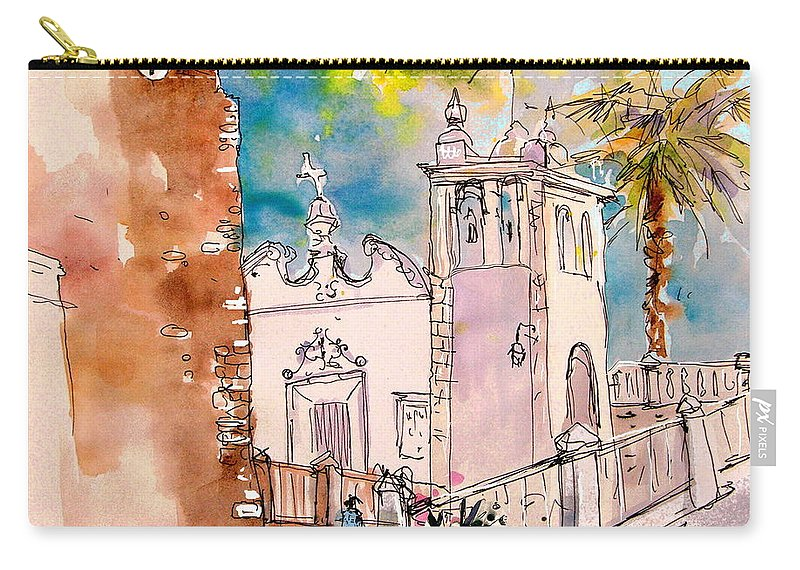 Water Colour Painting Serpa Portugal Carry-all Pouch featuring the painting Serpa Portugal 31 by Miki De Goodaboom