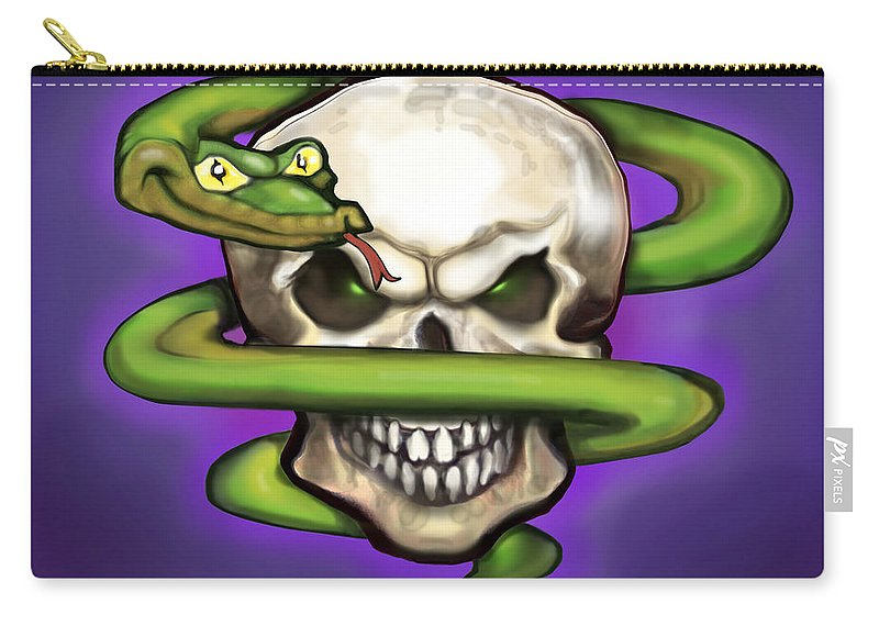 Serpent Carry-all Pouch featuring the digital art Serpent Evil Skull by Kevin Middleton