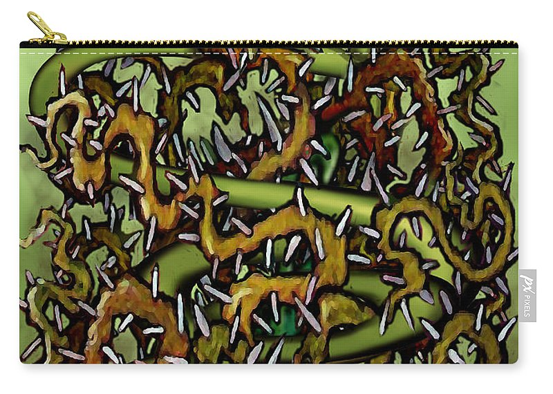 Serpent Carry-all Pouch featuring the painting Serpent N Thorns by Kevin Middleton