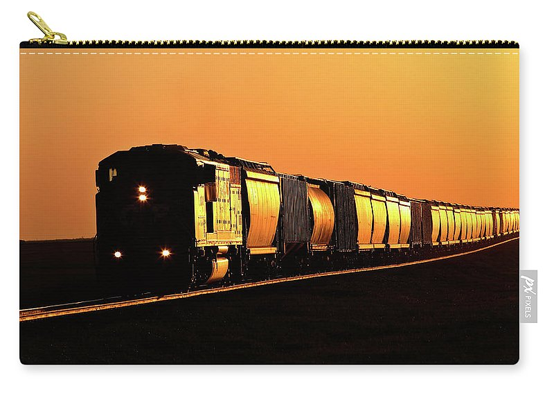 Sunlit Carry-all Pouch featuring the digital art Setting Sun Reflecting Off Train And Track by Mark Duffy