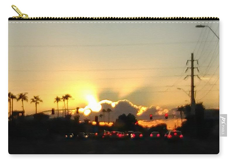 Abstracts Carry-all Pouch featuring the photograph Setting Sun by William Detrana