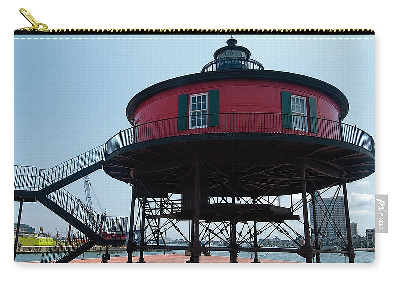 seven-foot Knoll Lighthouse Carry-all Pouch featuring the photograph Seven-foot Knoll Lighthouse by Paul Mangold