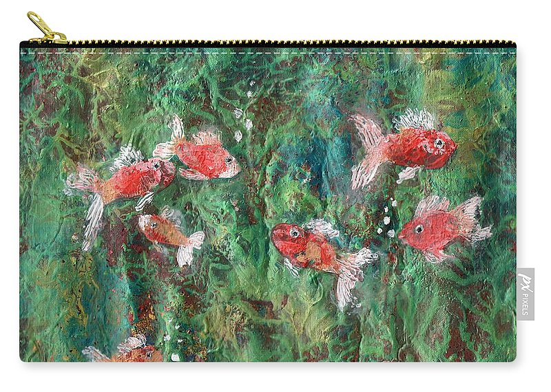 Acrylic Carry-all Pouch featuring the painting Seven Little Fishies by Maria Watt