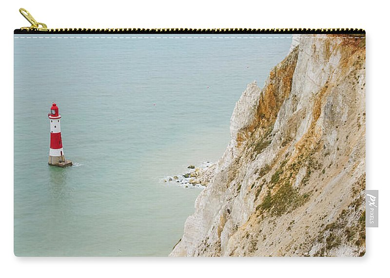 Eastbourne Limestone Beautiful Destination Nature Countryside Sightseeing Trip Water Picturesque Geological Formation South Downs National Park Viewpoint Britain British England English Sussex Uk Europe European Beachy Head Lighthouse Coastal Seaside Coastline Shore Erosion View Panorama Panoramic Landscape Travel Traveling Bay Tourism Famous Landmark Landmarks Attraction Horizon Natural Geology Steep Edge Scenery Scene High Eroded Heritage Sight Seven Sisters Coast Sea White Chalk Cliffs Cliff Carry-all Pouch featuring the photograph Seven Sisters Cliffs 16 by Marcin Rogozinski
